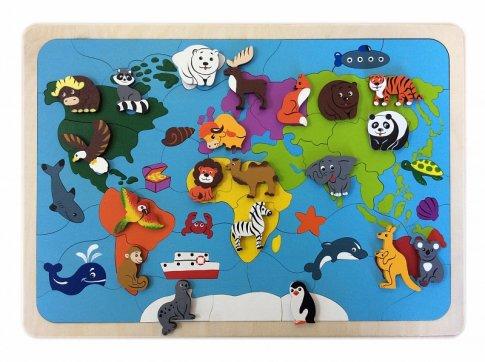 Карта мира (42х30 см 82 дет., 19 животных)