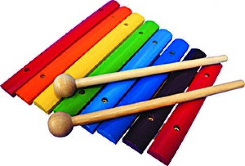 Ксилофон деревянный окрашенный 8 тонов (21х22х4 см)