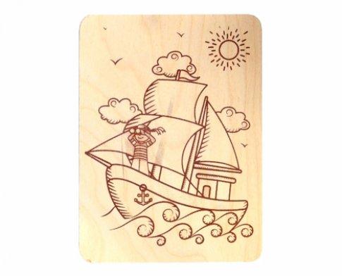 """Дощечка для выжигания """"Кораблик"""" (19x14 см)"""